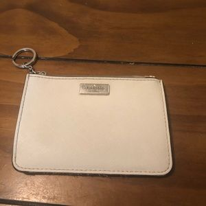 Kate spade white tan and black wallet key chain